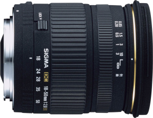 Sigma's 18-50mm F2.8 EX DC lens. Courtesy of Sigma, with modifications by Michael R. Tomkins.