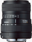 Sigma's 55-200mm F4?5.6 DC lens. Courtesy of Sigma, with modifications by Michael R. Tomkins.