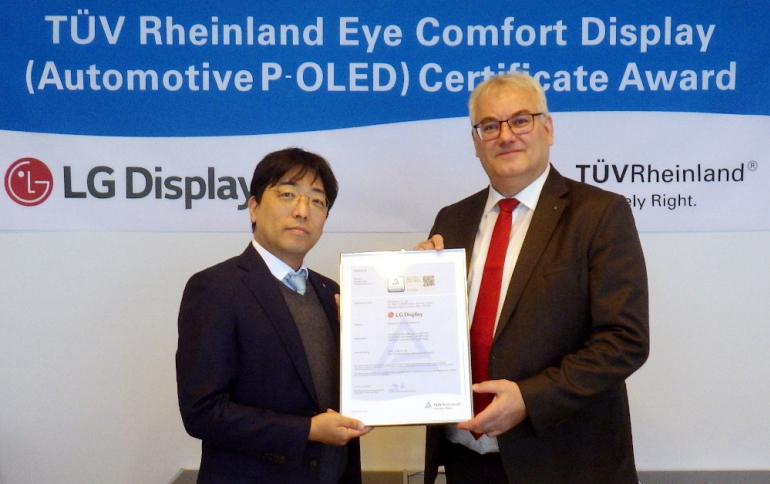LG Display Receives Eye Comfort Display Certification for Automotive P-OLED Displays From TÜV Rheinland