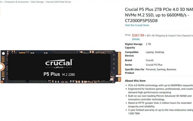 Crucial P5 Plus spotted in etail, Microns First PCIe 4.0 Consumer SSD