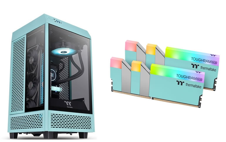 Thermaltake Unveils The Tower 100 Mini Chassis and TOUGHRAM RGB 3600MHz in Turquoise and Racing Green