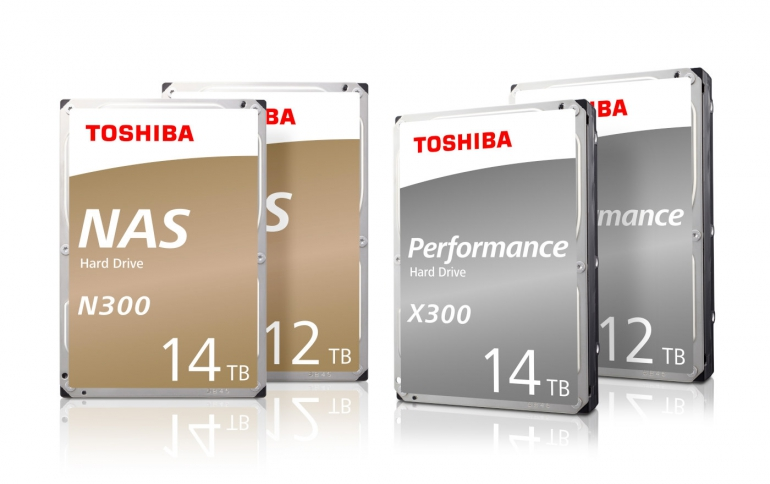 Toshiba Adds New 12TB and 14TB Helium-Sealed Models to N300 NAS and X300 Hard Drive Product Lines