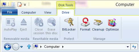 Figure 18 - Disk Tools context tab