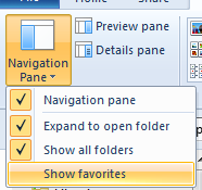 Figure 13 - Navigation pane options