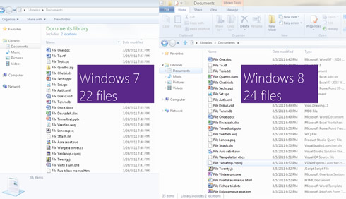 "Figure 21 - Comparison of real estate used for data in Windows 7 Explorer versus ""Windows 8"" Explorer"